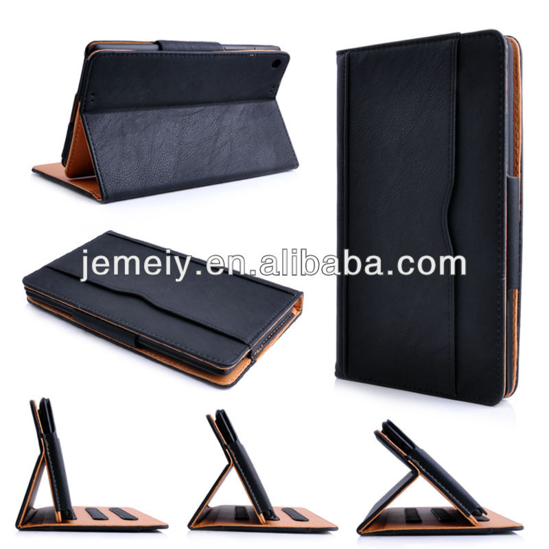 Hot sell High Quality Black&Tan Leather Wallet Smart Case Cover for Google Nexus 7 II