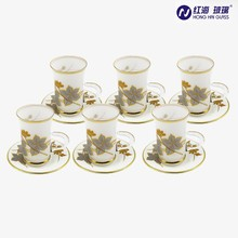 2017 new design china white color tea cups and saucers cheap glass coffee sets turkish cup 6pcs set big wholesale
