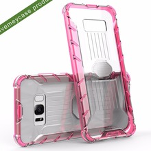 new 3 in 1 magnetic metal transparent robot phone case for samsung galaxy, pc tpu dustproof fashion transparent phone cover