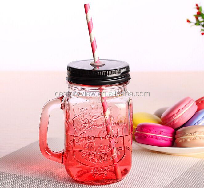 Hot Intriguing Beverage Glass Mason Jar mugs With Straw