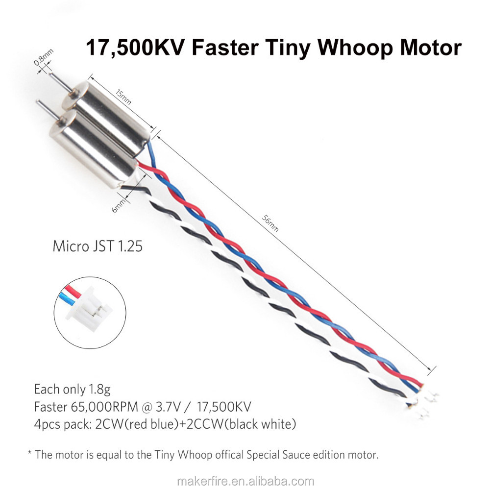 4pcs 6x15mm Motor (Speed: Faster) 17500KV TW Special Sauce Edition for Blade Inductrix Tiny Whoop with Micro JST 1.25 Plug Bonus