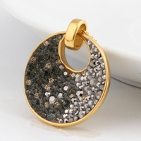 18K Gold Plated Stainless steel Brand Austria Crystal Pendants Nickel disc Fashion Necklace Jewelry For Women