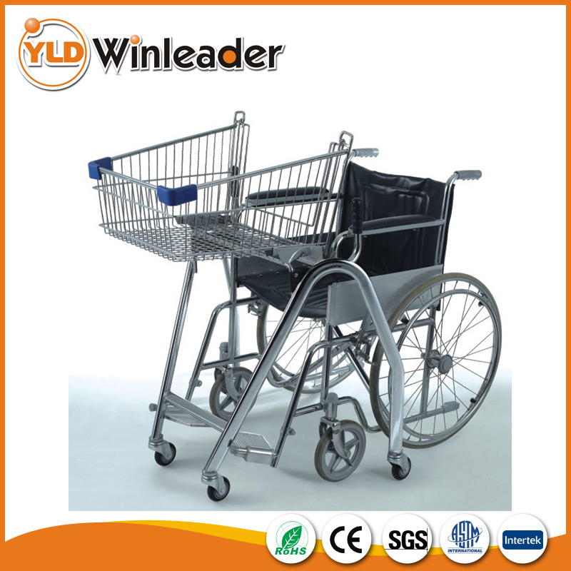 Steel Chrome Supermarket Disable Shopping Cart for Wheelchair user
