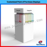 2016 new products customized charge bar wood display stand