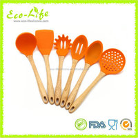 7pcs Silicone Covered Nylon Utensil, Silicone Cooking Tool Set, Kitchen Tools with Woodnen Handle