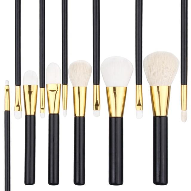 OEM 12pcs black gold makeup brush goat hair cosmetic brush set face/eye foundation make up brushes