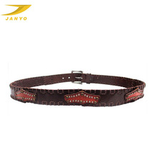JANYO personalized cowboy style men unique leather belts