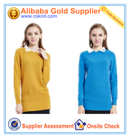 100% cashmere women sweater/new design girl sweater
