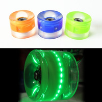 Glow in the dark led light up flashing spark flicker PU polyurethane rubber custom roller skate board wheels
