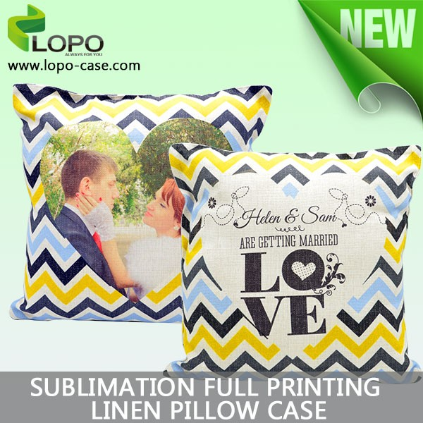 New design custom sublimation digital full printing pillow case, heart shape linen cotton cushion cover