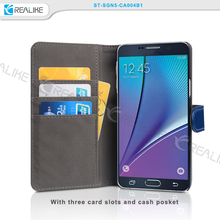New design leather back cover stand mobile phone case for Samsung galaxy Note 5