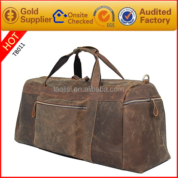 Guangzhou factory supplier crazy horse leather bag wholesale leather travel bag for men