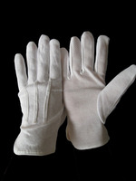 China waiter marching inspection jeweler band cotton parade hand job hosiery gloves with strips&sanp enclosure