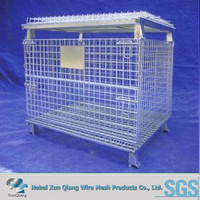 Warehouse Foldable And Stackable Metal Storage Cage