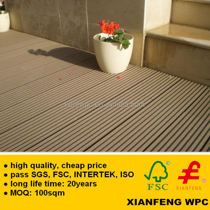 Fireproof WPC Flooring Grooves Wood Plastic Composite Panel Boards For Outdoor Flooring Decking