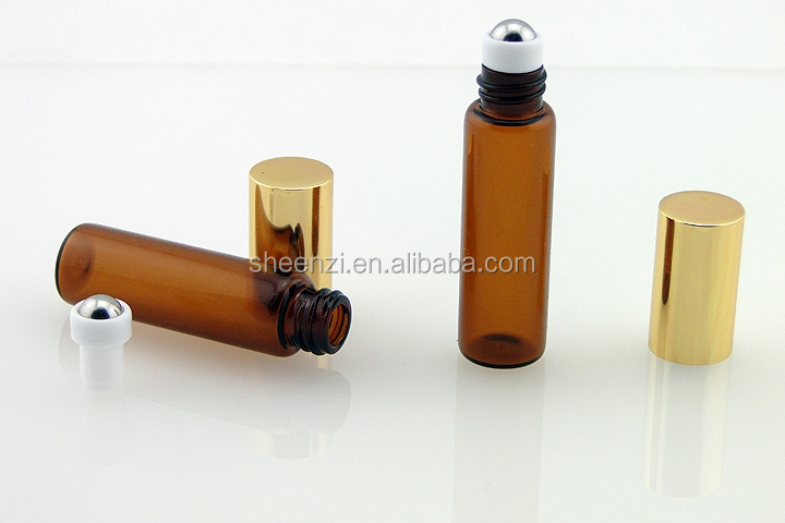5ml brown cosmetic glass roller ball bottles