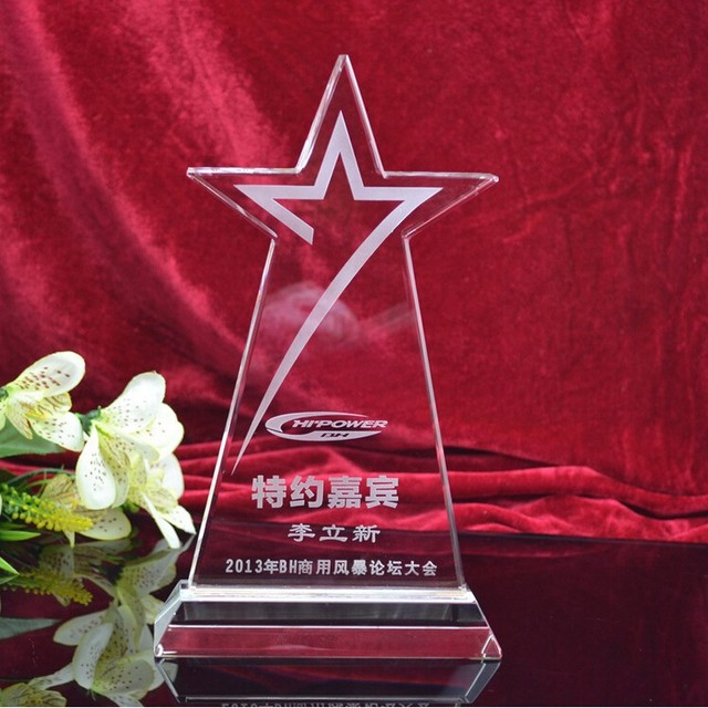 New Arrived Crystal Star Blank Plastic Plaques In Crystal Crafts