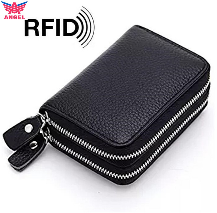 2017 New design mini genuine leather double zipper RFID car key card holder