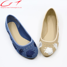 embroidered canvas ladies casual shoes