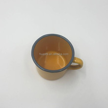Bell Shape Pantone color Gray 7545C Rim With 7548C Yellow Enamel Metal Cast Iron Camping Mug