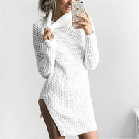 Long Women Sexy High Neck Slit Polyester Knit Sweater 2017
