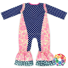 Patchwork Long Sleeve Long Pants Baby Girls One Piece Bodysuit Girls Romper