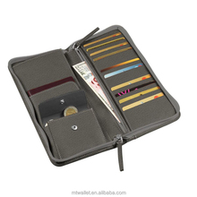Large capacity zippered saffiano leather travel wallet