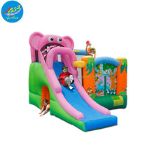 cheap pink elephant inflatable bouncer Jumping Castle With Slide High Quality Slide with Bouncer