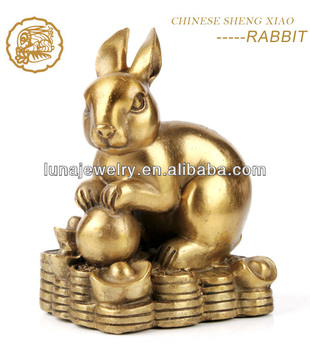 Fabulous Hong Tze Collection-Triple Chinese zodiac animals Chinese Rabbit Statues
