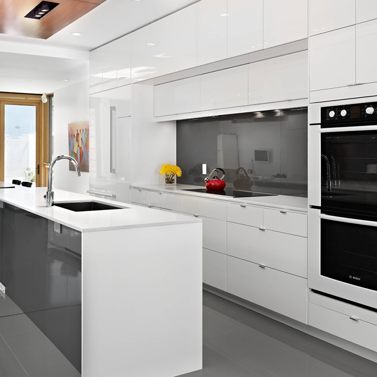 Lacquer l shape high gloss white kitchen cabinet
