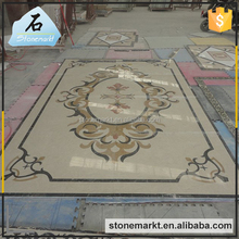Flooring inlay decoration beige color rectangular waterjet marble medallion