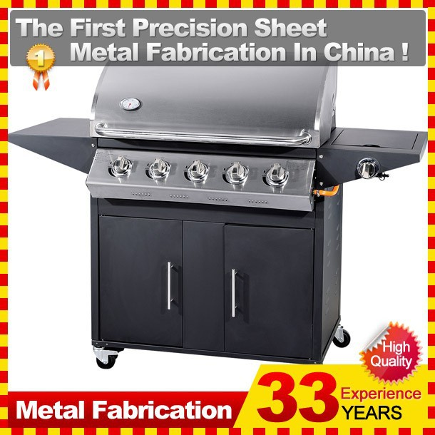 united professional gas grill with side burners