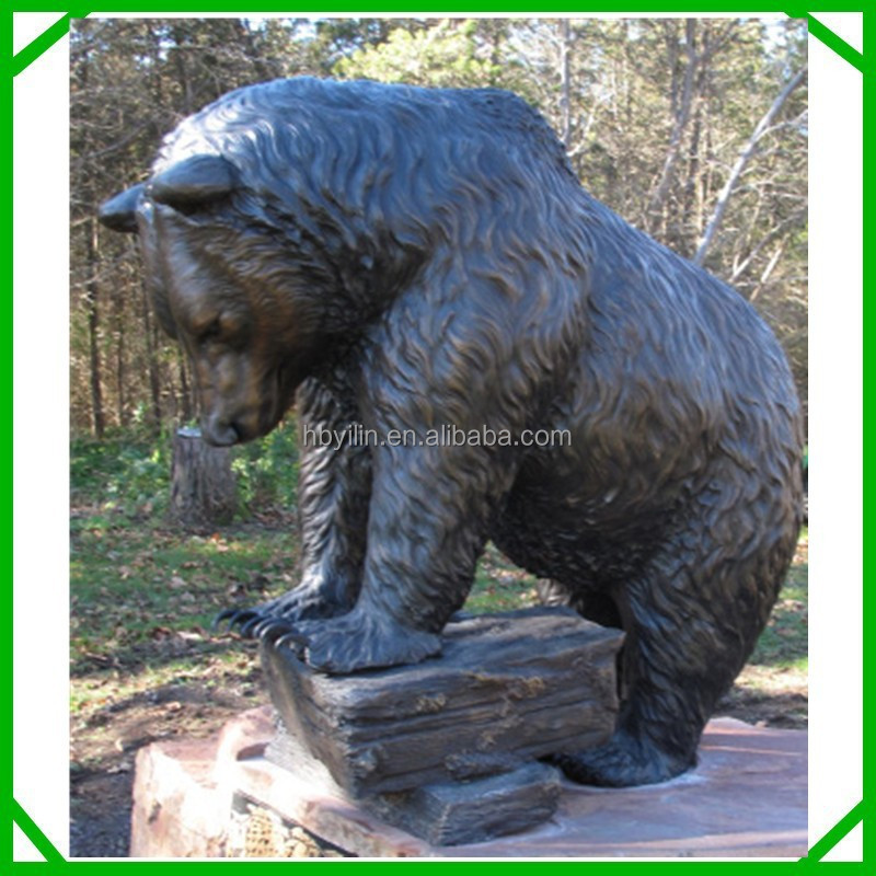Bronze black life size bear statue, outdoor bear statues