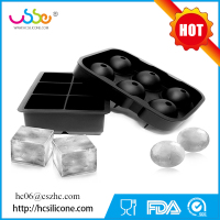 BPA free Silicone Ice Cube Tray Set of 2 Black Silicone 6 Giant Ball Maker Use for Kids