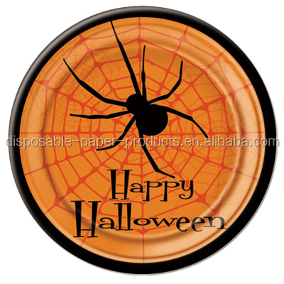 Halloween Party Supplies Orange Happy Halloween Spider Tableware Large 23cm 9inch Disposable Party Paper Plate Black Spider