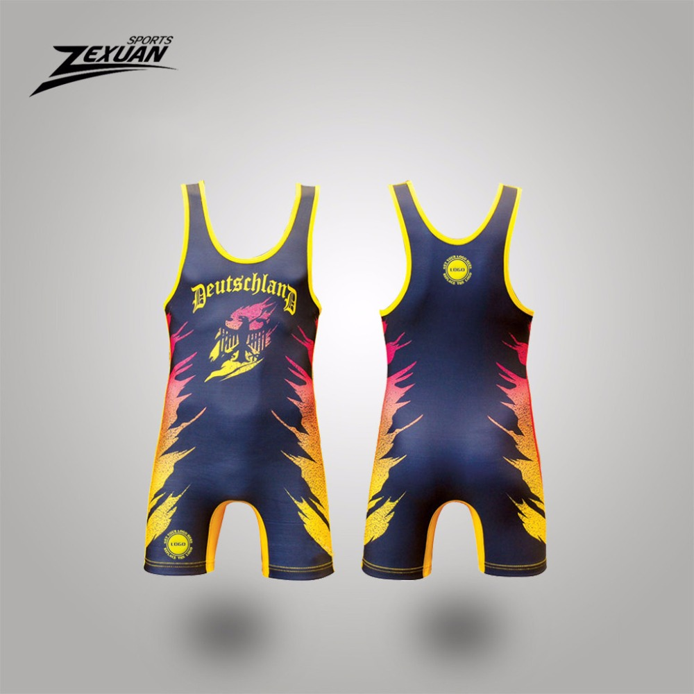 ZEXUAN lycra custom tuxedo wrestling wear powerlifting singlet