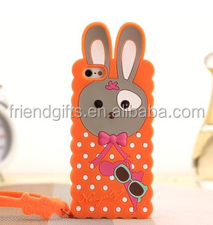 custom animal shaped designer bulk cheap rabbit ear silicone mobile phone case