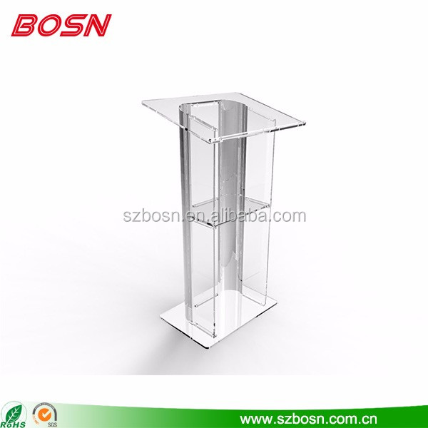 Good quality transparent acrylic lectern lucite Perspex podium pulpit with iron