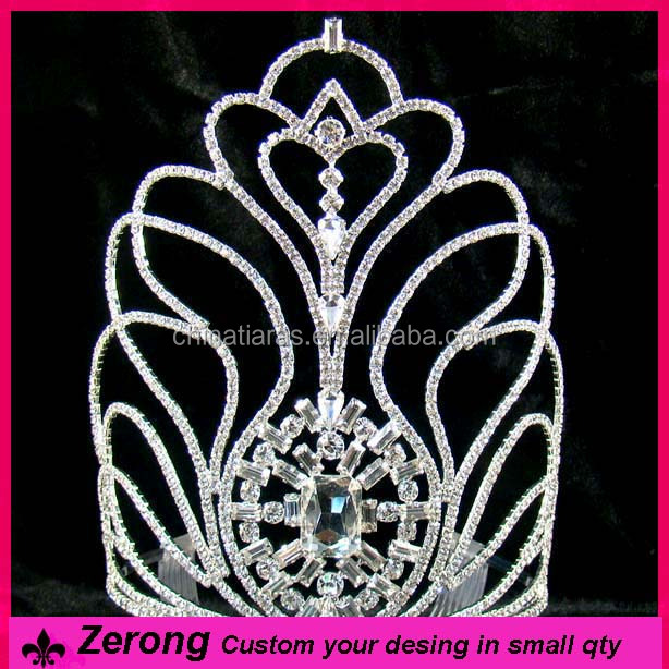 Factory direct sale boy large custome peacock diamond tiaras crown