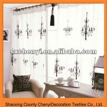 flower embroidered organza curtain