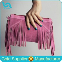 Boho Suede Leather Fringe bag Suede Leather Woman Clutch Bag With Tassel