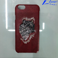 wholesale hot selling Leather Tiger Embroidery leather phone case for cell phone case