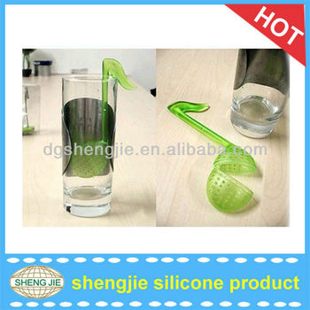 popular design silicone musical notes shape tea strainer