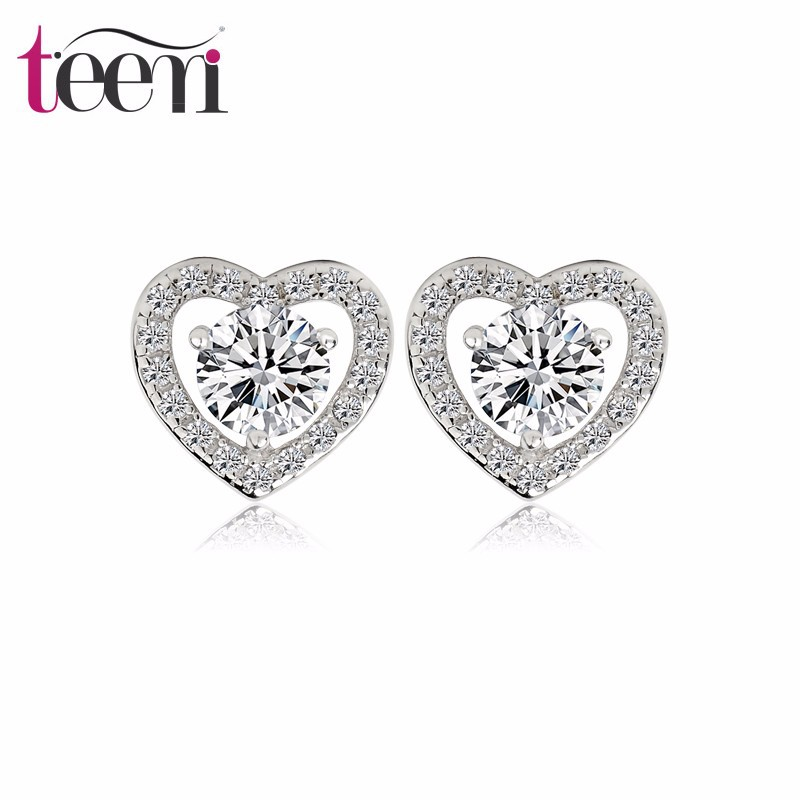 Teemi Hearts&Arrows Cubic Zirconia Diamond Heart Shape Stud Earrings For Women Fashion Luxury Sterling Silver Jewelry