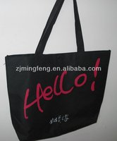 black recycled cotton canvas tote bags