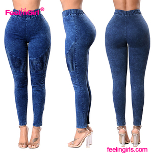 Wholesale Factory Price Custom Logo Fashion Blue Ladies Women Jeans