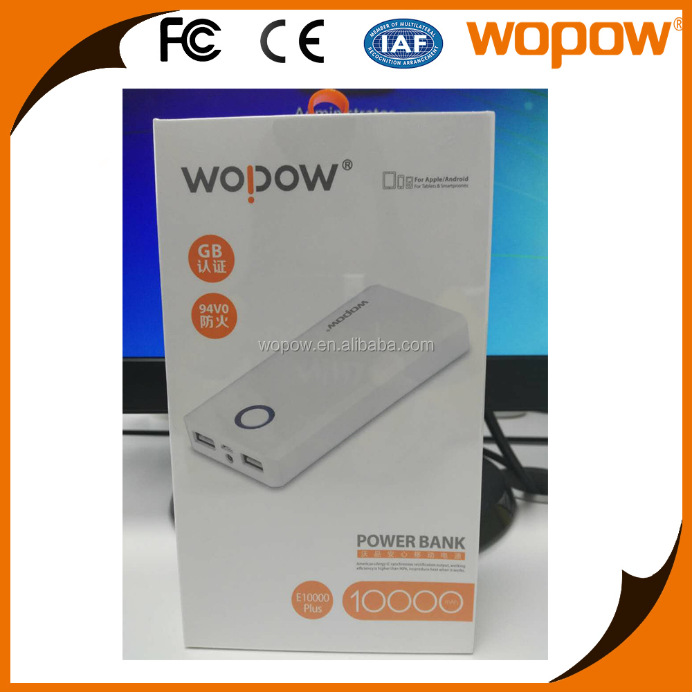 WOPOW High Quality CE Rohs Slim Smart Mobile Power bank battery charger