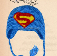 2015 newest earflap knit beanie superman crochet baby boy hat