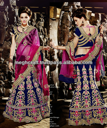 Designer indian bridal lehenga sarees - Blue lehenga saree -Heavy designer wedding lehenga sarees