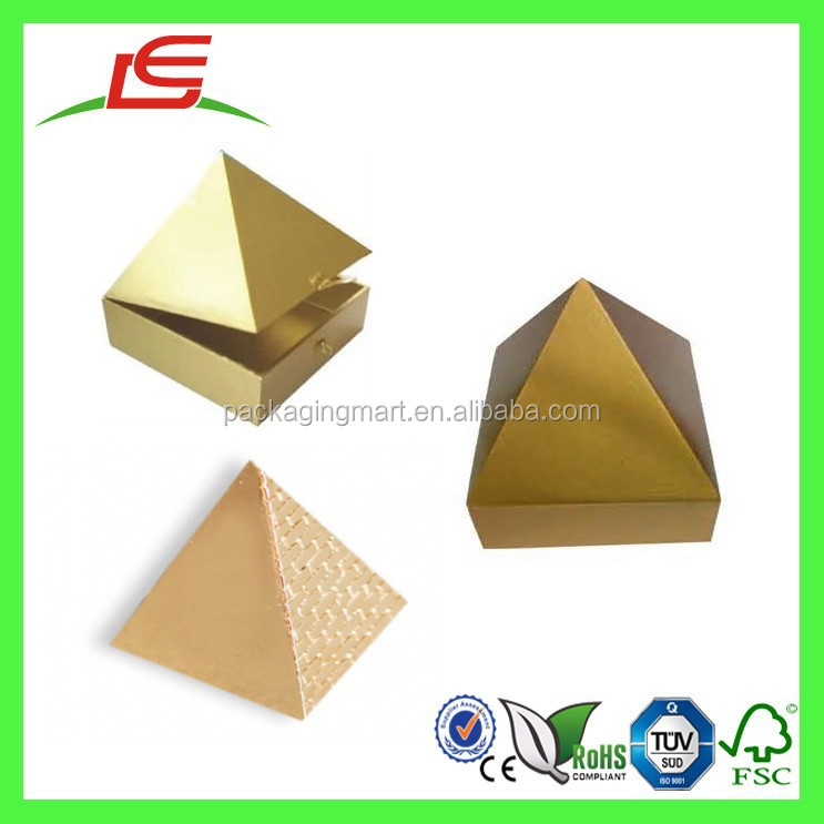 E0102 Shenzhen Manufature Wholesale Luxury Gold Thick Cardboard Pyramid Shaped Box For Gift